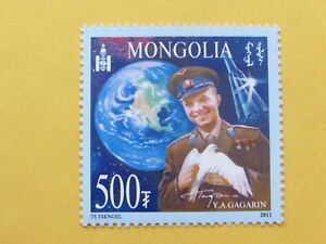 Mint Mongolian Stamp 50th Anniversary First Man in Space Y.A.Gagarin 2011