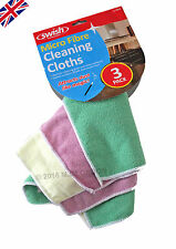 3x Microfibre Micro Fibre Cleaning Cloths. Smear Free finish for Glass- New