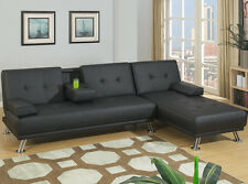 NEW PRESLEY CONTEMPORARY SOFT BLACK LEATHERETTE ADJUSTABLE FUTON SOFA & CHAISE