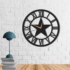 Large Metal Star Wall Clock,Metal Wall Clock Art,Metal Roman Numeral Wall Clock