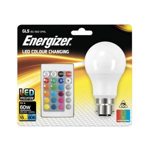 Energizer 9W (60W) 15 Colour Changing B22 GLS LED RGB+W with Remote Control