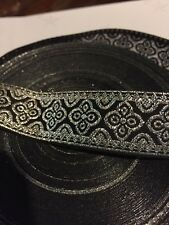 "5 Yards PRETTY 13/16"" SILVER  AND BLACK JACQUARD RIBBON TRIM AWESOME DESIGN"