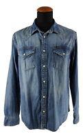 Lee Cooper Herren Denim Hemd Gr. L Jeanshemd Brusttaschen Baumwolle Blau AQ4