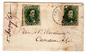 1862 CSA #1  Pocotaligo SC (DPO) to Camden Confederate Forwarded w/ #1 Civil War