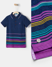 Baker By Ted Baker Boys Blue Stripe Short Sleeve Polo Shirt Age 9 to 10 yrs NEW