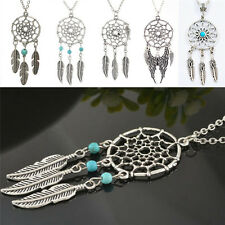 Women Chic Dream Catcher Feather Pendant Necklace Pretty Retro Chain Necklace、AU