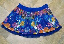 Justice Sequin Sparkle Skirt 18 Blue Flowers Skort Layered Sheer Ruffle Floral