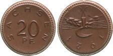 20 Pfennig 1921 Freistaat Sachsen  180°Stempeldrehung prägefrisch, braunes Porz.
