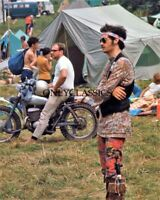 1969 WOODSTOCK MUSICAL FESTIVAL MOTORCYCLE 8X10 PHOTO PSYCHEDELIC HIPPIE FAR OUT
