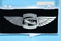 VINTAGE MILITARY AIRPLANE PEWTER PINBACK PLANE LIFE FLIGHT IN ORIGINAL CASE PIN