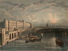 William Tombleson Somerset House London 1835 Antique Print Rare Framed Color