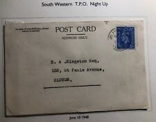 1948 South Western England Postcard Cover Traveling Post Office To Slough