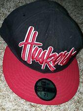 New Era 59Fifty Nebraska Corn Huskers Fitted Cap Hat Black Red NCAA