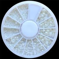 New White Pearl Nail Art Stone Different Size Wheel Rhinestones Beads LW