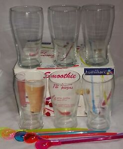 Set of 6 Luminarc Glass 20 Ounce Smoothie Tumblers With Spoon-Straws