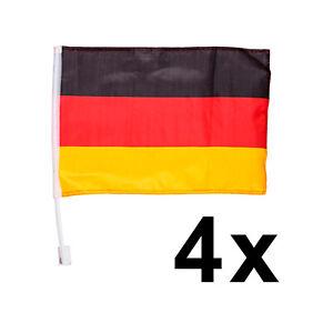 4x Autoflagge Autofahne Deutschland Flagge Fahne Stab Fußball EM Fan Artikel