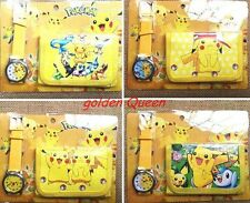 Wholesale 12Sets Pikachu Pokemon Watches and Purses Wallets Children Gifts