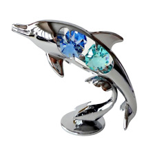 Crystocraft Dolphin Crystal Ornament Swarovski Elements Gif Boxed Blue & Green