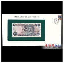Jersey 1 Pound 1976-88 (PERFECT UNC) in Folder 全新  泽西岛1镑(1976-1988年)高冠女王版