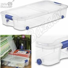 UNDER BED STORAGE Containers Shoe Clothes Rolling Bin Box Organizer 66 Qt 4 Pack