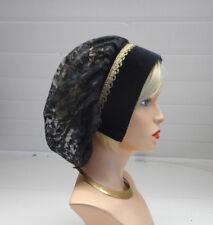 s4 Mittelalter Kopfbedeckung  Samt +Spitze  Haube Edeldame schwarz altgold