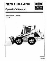 NEW HOLLAND L-778 SKID-STEER LOADER OPERATORS OPERATION MAINTENANCE MANUAL
