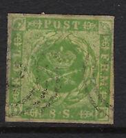 DENMARK: 1857 8sk green imperforate  SG 12 used