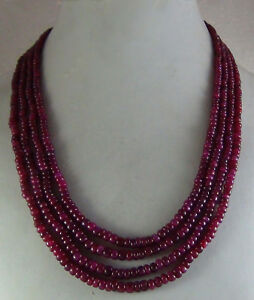 482cts NATURAL CABOCHON RUBY PINK  BEADS NECKLACE 4 STRANDS WORLDWIDE SHIPPING