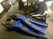 Tusa Xpert Zoom Split Fins (Sz XS-S) and Aqua Lung Manta 5mm Scuba Boots (Sz 7)
