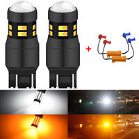 2x 7440 7443 24 SMD Canbus Switchback LED Turn Signal Light Bulbs White Amber
