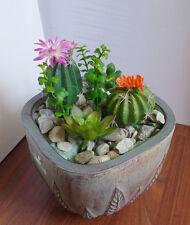 8 Artificial Plants Mini Grass Orange Flowering Cactus Succulents