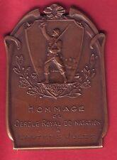 R* BELGIUM BRONZE PLAQUE MEDAL SWIMMING CERCLE ROYAL de NATATION 1914-1918 XF+