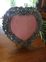 "Gorgeous Vintage Pewter Ornate Roses Heart Picture Frame Holds 6 1/4"" x 6 1/4"""