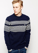 Fred Perry Fairisle Crew Knit Jumper Sweater - Mens - Navy - Rare ASOS Exlcusive