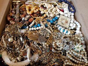 HUGE 22 lbs Vintage Mod Junk Jewelry Lot Rhinestones Repair Salvage Findings+