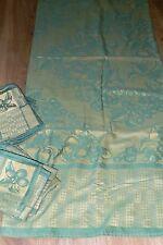 belle nappe rectangulaire mordoré vert  +12 serviettes