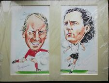 Hand pinted cartoon & autograph of the ManUnited legend sir Bobby Charlton sign