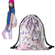 Unicorn Drawstring Tote String Bags Travel PE Gym School Laundry Backpack