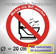 NICHTS INS WC WERFEN, Verbotszeichen, 20 cm Aufkleber, zus laminiert