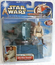 Star Wars Attack of the Clones Obi-Wan Kenobi Force Flipping (Hasbro, 2002) New