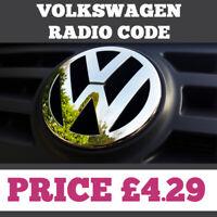 Volkswagen Radio Code Unlock Decode Service