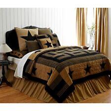 3PC DELAWARE STAR Queen Set Quilt Primitive/Rustic Black/Khaki Plaid Farmhouse