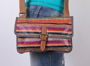 FOSSIL Small Coated Canvas Multicolor Shoulder Hobo Cross Body Purse Bag