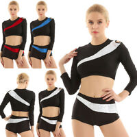 Women Sequins Squad Dance Activewear Suits Crop Top with Shorts Dancewear Outfit
