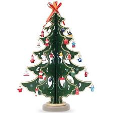 Wooden Tabletop Christmas Tree with 32 German Style Miniature Christmas