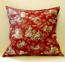 "french country toile pillow cover red 100% cotton home decor fabric 20""x 20"""