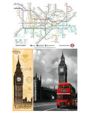London 3 individual posters Vintage Red bus Underground Map UK Europe Culture