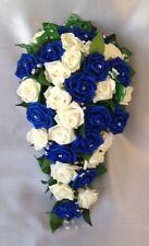 ARTIFICIAL FLOWERS IVORY/ROYAL BLUE ROSE BRIDE WEDDING SHOWER BOUQUET TEARDROP