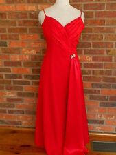 Womens Pelicana Brand Evening Wear Cocktail Long Red Formal Gown Dress Sz Lge