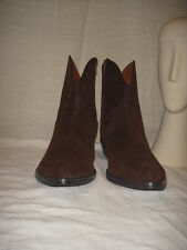 NINE WEST WESTERN COWBOY BROWN LEATHER ANKLE BOOTS WOMEN SIZE 10M